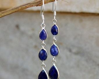 Blue Sapphire in Earring,Silver Earring,Gemstone Earring,Blue Earring,Solid 925Sterling Silver Earring,Three Stone Earring,bezel set earring