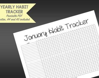 Monthly Habit Tracker Printable - Daily Habit Tracker- 12 months - Letter size - A4 size - A5 size - Monthly Planner