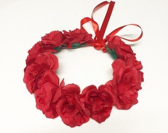 Tea Red Rose Flower Crown with and Adjustable Ribbon
