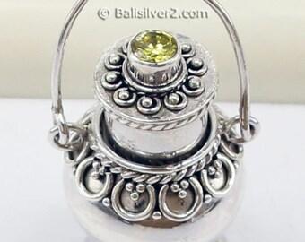 Sterling silver Locket Prayer Box  potion perfume bottle Pendant with pale yellow CZ
