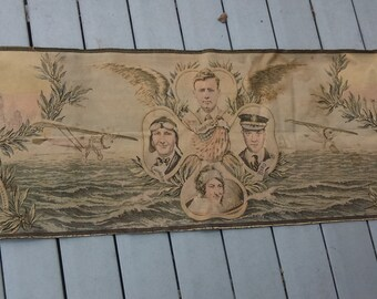 Charles Lindbergh Tapestry 1928 RARE