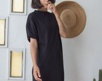 Casual Black Dress //  Pencil T shirt Dress // Day Dress in Midi Knee Length with Gathered Sleeves