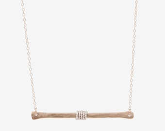 Solid 14K Gold Bar Necklace