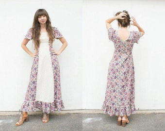VINTAGE 1970s Sweet Floral Lace Flutter Sleeve Dress | Gunne Sax Style Prairie Maxi Dress | Boho Folk Country Floral Cotton Dress