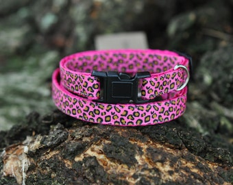 Pink Leopard ribbon collar for cats, puppies, small breeds