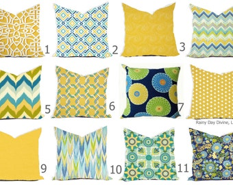 Outdoor Pillows or Indoor Custom Cover sizes include 16x16, 18x18 - Shades of Blue Aqua Royal Yellow Daffodil Modern Geometric Tribal Floral