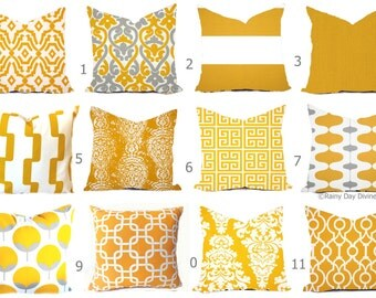 Outdoor Pillow Covers or Indoor Custom - Citrus Yellow Mustard White - All sizes 16x16 18x18 -Sham Toss Throw Accent Modern Geo Ikat Patio