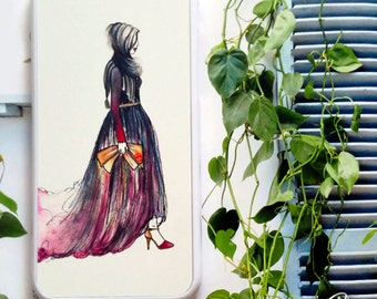 Watercolour Fashionista Hijabi Illustration Smartphone Case - Fashion Illustration - Hijabi - Handmade in UK