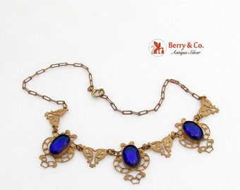 SaLe! sALe! Vintage Necklace Deep Blue Glass Stones Costume Jewelry