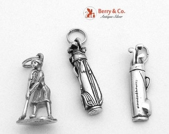 SaLe! sALe! Three Vintage Golf Charms Sterling Silver 1930