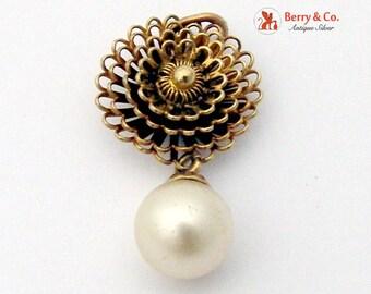14K Gold Filigree Flower Pendant Cultured Pearl Dangle