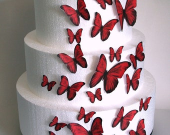 Edible Butterflies Wedding Cake Topper, Red Edible Butterflies, Set of 24 DIY Cake Decor, Edible Cake Decorations, Cupcake Toppers
