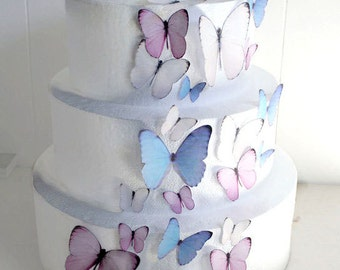 Edible Butterflies Wedding Cake Topper, Light Pink and Blue Edible Butterflies, Set of 24 DIY Cake Decor, Edible Cake Decorations, Cupcake