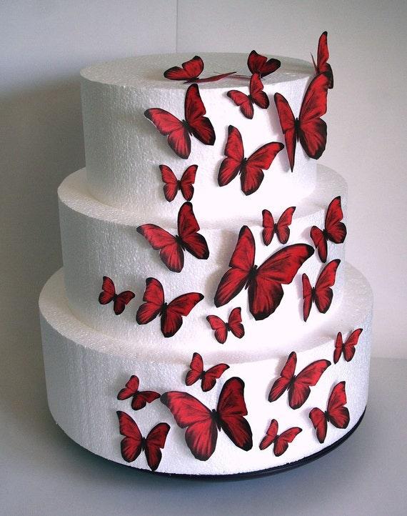 Edible Cake Decorations Kosher : Edible Butterflies Wedding Cake Topper Red Edible