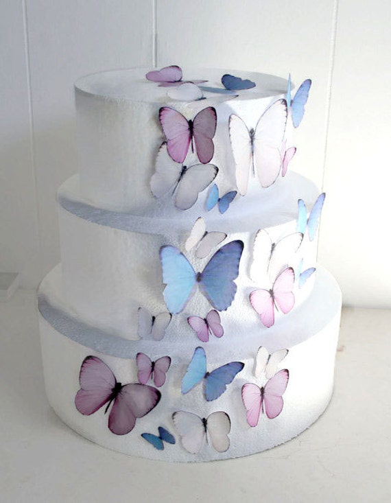 Edible Butterflies Wedding Cake Topper Light Pink And Blue