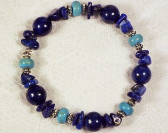 """Cynthia Lynn """"END OF SUMMER"""" Blue Lapis Lazuli and Turquoise Howlite Beaded Silver Stretch Bracelet 7.5 inches"""
