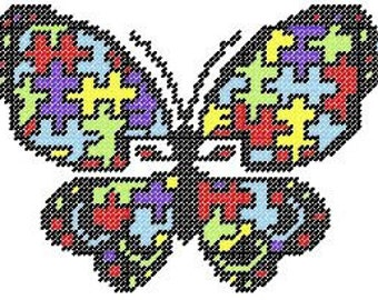 Awareness Butterfly Plastic Canvas Pattern