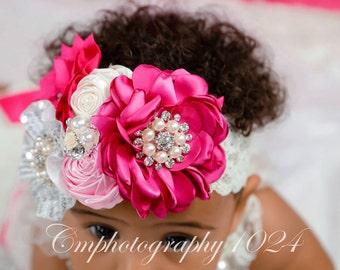 Hot Pink Headband/Baby Headband/Baby Headbands and Bows/Infant Headband/Baby Girl Headband/Girl Headband Baby/Toddler Headband/Baby Romper