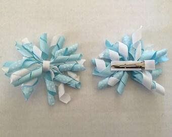 """Set of Light Blue and White Korker Hair Clips 3"""""""