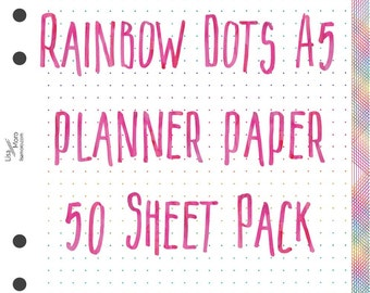 A5 planner 50 printed sheets of dot paper.  White with rainbow dots. 50 sheets pack.