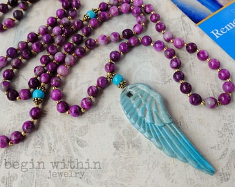 Archangel Michael Mala Beads | Sugilite Angel Necklace | Angel Wing Prayer Beads | Guardian Angel Jewelry