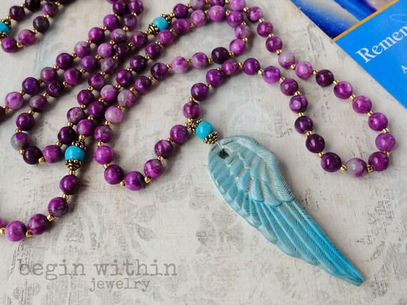 Archangel Michael Mala Beads / Sugilite Angel Necklace / Angel Wing Prayer Beads / Guardian Angel Jewelry