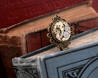 Bookmark/ Steampunk Bookmark with Watch Movement/ Stocking Stuffers/ Christmas Gifts for Reader/ Metal Bookmark/ Book Mark
