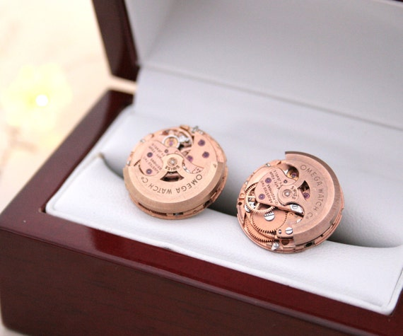 Copper Wedding Gifts: Rose Gold Cufflinks/ Copper Wedding Anniversary/ Omega Watch