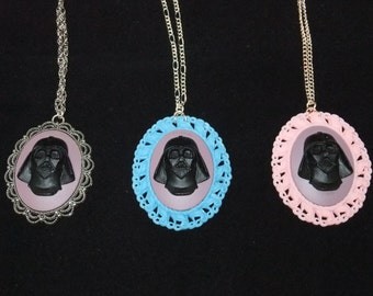 Darth Vader Cameo Necklace with Purple Background