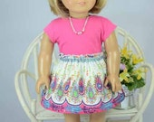 American Girl or 18 Inch Doll SKIRT in Multicolor Paisley Print with TEE Shirt Top in Hot Pink Necklace