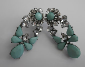 Seafoam Green with Crystal Glass Costume Earrings, Costume Jewelry, Rhinestone Earrings, Crystal Earrings, Costume Earrings, Womens Earrings