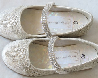 WeDDING LACe FLATS - Little Girl IVORY Ballet Flats - Metallic Silver Venise Lace - Ivory - Sz 10 ONLY