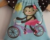 10 inch Upcycled Girl Waldorf Doll Dress Monkey Bicycle