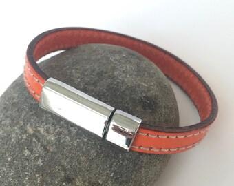 Orange Stitched Leather Bracelet with Antique Silver Clasp, Unisex Leather Bracelet, Men's Leather Bracelet,Leather Bangle,Orange and Silver