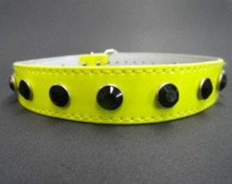 Choker Collar Yellow Vinyl Choker Black Gem