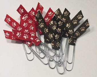 Paw print paperclips, Paw Print bookmarks, Puppy bookmarks, Cool Bookmarks, Kids bookmarks, Animal Bookmarks , (sold individually)