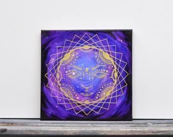 "Galaxy Sun Goddess Gold Mixed Media Painting  12"" x 12"""