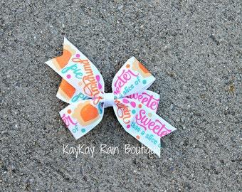Sweeter Than A Slice Of Pumpkin Pie Hair Bow - 3 Inch Hair Bow - Girls Hair Bow - Pumpkin Pie Hair Bow - Sweet Pumpkin Pie Bow - Pumpkin