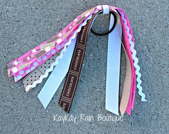 S'more Tester Ponytail Streamer - Ponytail Ribbons - Ponytail Holder - Ponytail Streamer Ribbons - Cheer Ribbons - S'more - S'more Tester