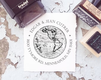 Map Stamp, World Stamp,   Self-inking Address Stamp, Globe  Stamp, Personalized Stamp, Map Wedding Stamp, Address Stamper- 10124