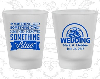 Something Old, Something New, Something Borrowed, Something Blue, Printed Frosted Shot Glass, Wedding Bells, Frosted Glasses (466)