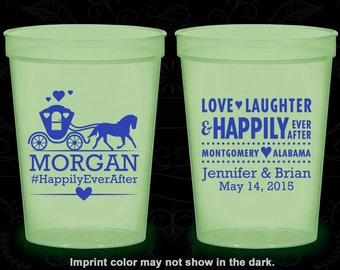 Love Laughter, Custom Glow in the Dark Cups, Fairy Tale Wedding, Princess Carriage, Glow in the Dark (552)