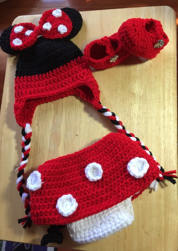 Free Crochet Pattern Minnie Mouse Diaper Cover : Newborn 0-3 Months Crochet Minnie Mouse Hat Diaper Cover and