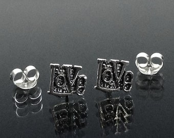 925 Solid Sterling Silver LOVE  Earrings- Small- Oxidized- Studs