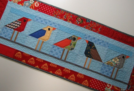 Quilted Wall Hanging Folk Art Quilt 5 Birds On A Wire
