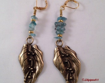 Apatite and Brass Beaded Earrings, Gift for Her, Art Nouveau, Vintage Inspired, Elegant, Floral, Romantic, Gifts Under 25, Natural Stone