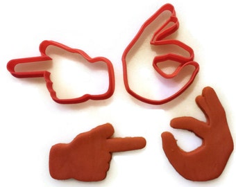Emoji Ok and Pointing Finger Cookie Cutter Set
