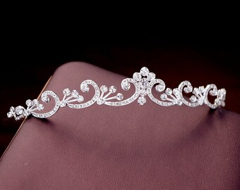 Swarovski swirl tiara,  Scrolling floral headband, Crystal headband, Floral tiara,Silver, Rhinestone headband, Bridal halo