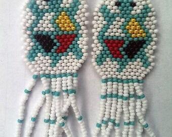 Beaded Turtle Earrings, White