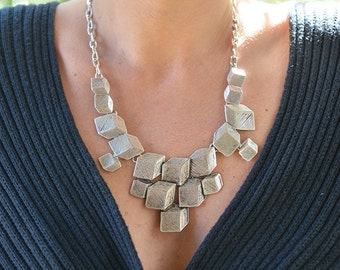 Cubic Necklace, Handmade Pewter Necklace, Tribal Bib Necklace , Kuchi Necklace